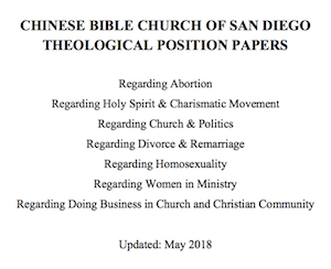 CBCSD Theological Position Papers